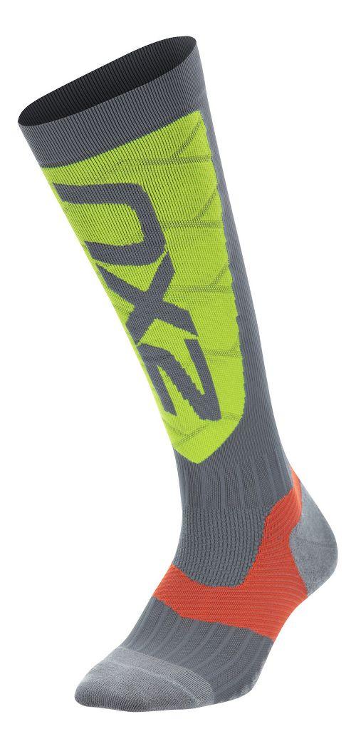 Womens 2XU Elite Compression Alpine Socks Injury Recovery - Grey/Green S