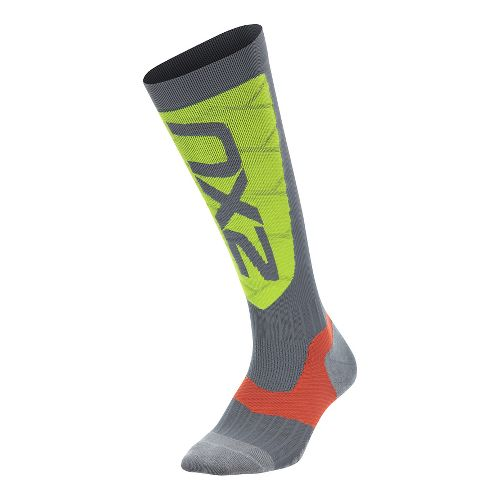 Womens 2XU Elite Compression Alpine Socks Injury Recovery - Grey/Green XL