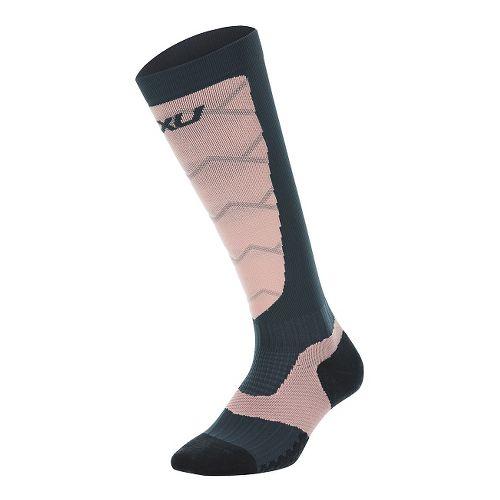 Womens 2XU Elite Compression Alpine Socks Injury Recovery - Titanium/Coral L