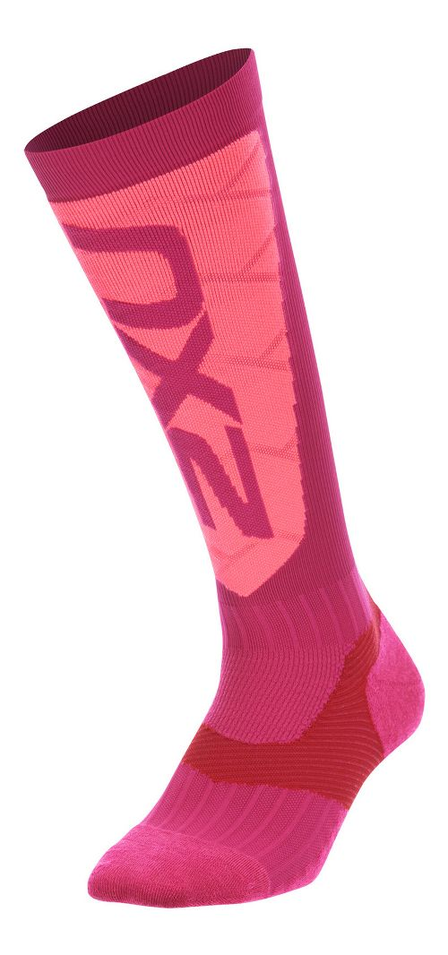 Womens 2XU Elite Compression Alpine Socks Injury Recovery - Hot Pink/Pink M