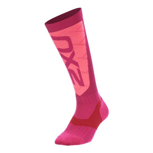 Womens 2XU Elite Compression Alpine Socks Injury Recovery - Hot Pink/Pink M