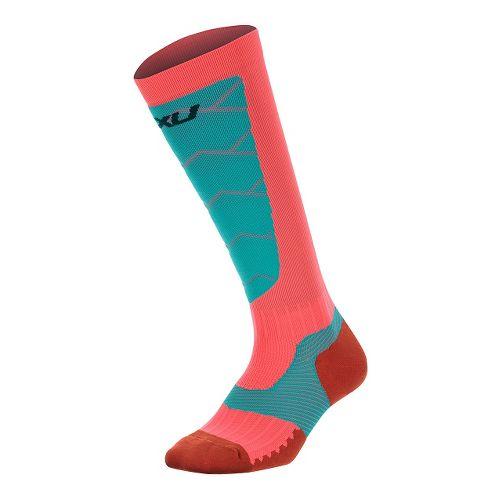 Womens 2XU Elite Compression Alpine Socks Injury Recovery - Pink Glow/Soft Cell M