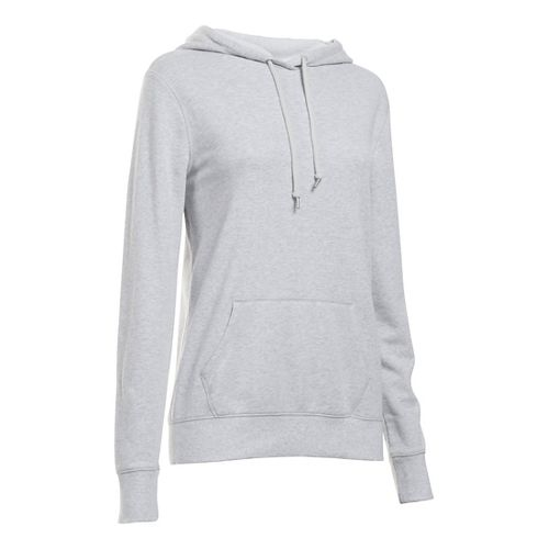 Womens Under Armour French Terry Hoodie & Sweatshirts Technical Tops - Grey Heather S
