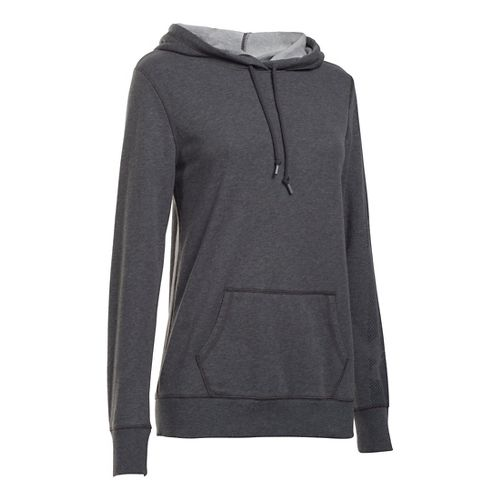 Womens Under Armour French Terry Hoodie & Sweatshirts Technical Tops - Carbon Heather XS