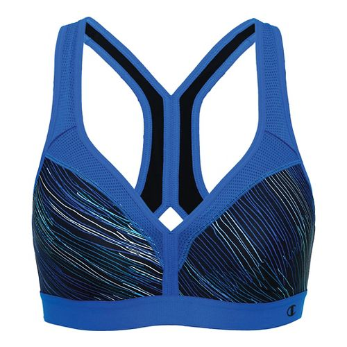 Womens Champion The Curvy Print Sports Bra - String Theory/Blue S
