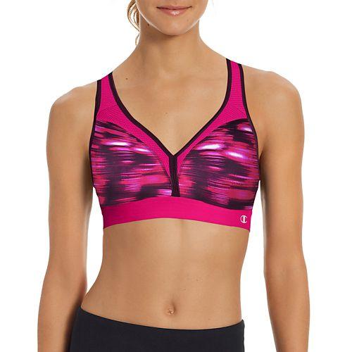Womens Champion The Curvy Print Sports Bra - Pop Art Pink XS