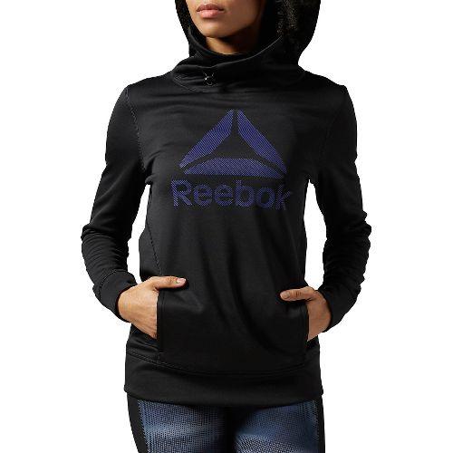Womens Reebok Workout Ready OTH Half-Zips & Hoodies Technical Tops - Black/White M
