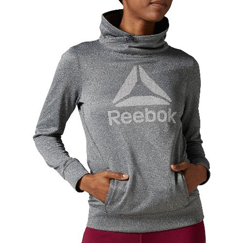 Womens Reebok Workout Ready OTH Half-Zips & Hoodies Technical Tops - Grey/Heather M