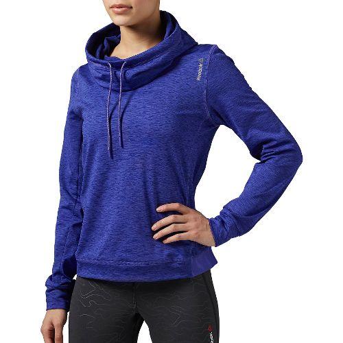 Womens Reebok Workout Ready Big Collar OTH Melange Long Sleeve Technical Tops - Purple L ...