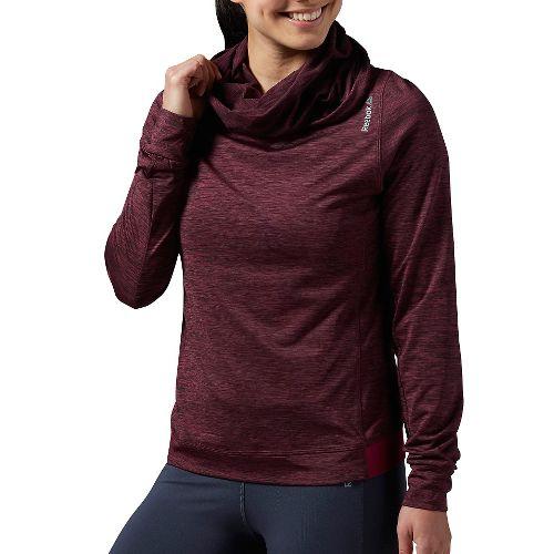 Womens Reebok Workout Ready Big Collar OTH Melange Long Sleeve Technical Tops - Maroon L ...