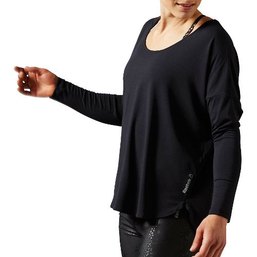 Womens Reebok Studio Lux Wool Blend Cover Up Long Sleeve Technical Tops - Black XS ...