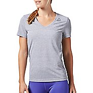 Womens Reebok Workout Ready Stacked Logo Supremium Tee Short Sleeve Technical Tops