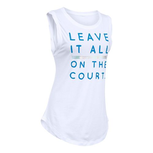 Womens Under Armour Leave It On Court CM Tunic Short Sleeve Technical Tops - White ...