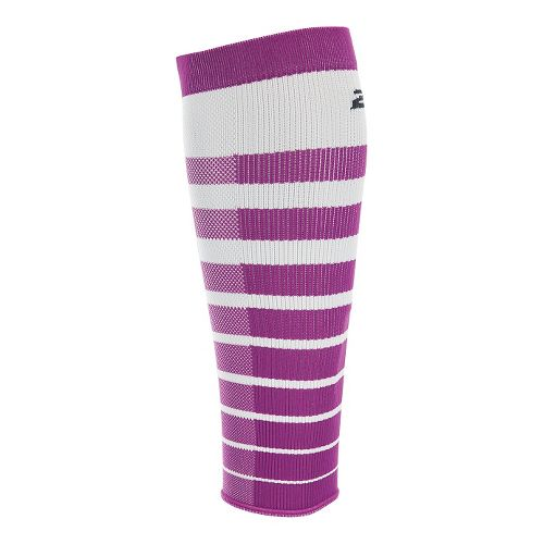 2XU Striped Run Compression Calf Sleeves Injury Recovery - White/Wildaster M