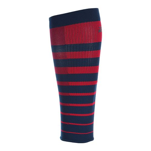 2XU Striped Run Compression Calf Sleeves Injury Recovery - Rio Red/Ombre Blue S