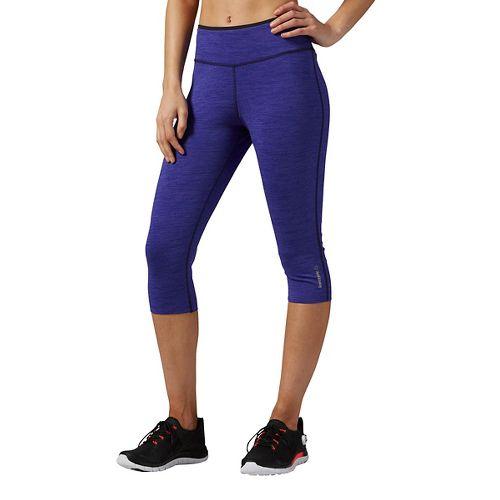 Womens Reebok Workout Ready Reversible Capris Pants - Purple M