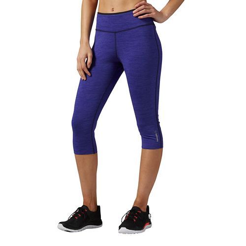 Womens Reebok Workout Ready Reversible Capris Pants - Purple XL