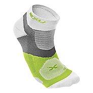 Mens 2XU Long Range VECTR Sock Injury Recovery - White/Fluro Lime S