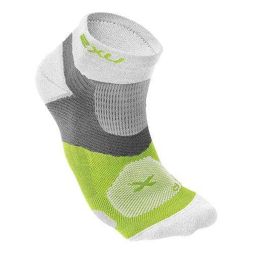 Mens 2XU Long Range VECTR Sock Injury Recovery - White/Fluro Lime M