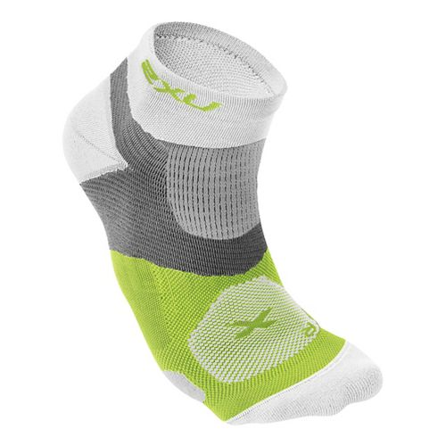 Mens 2XU Long Range VECTR Sock Injury Recovery - White/Fluro Lime S