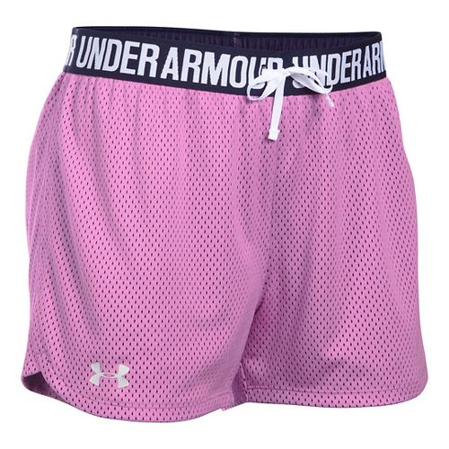Womens Under Armour Play Up Mesh Unlined Shorts - Verve Violet/Navy L