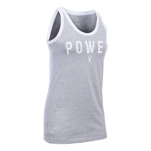 Womens Under Armour Power PIP Favorite Sleeveless & Tank Technical Tops - Grey Heather/White M ...
