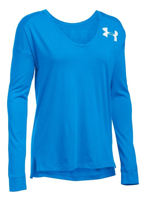 Womens Under Armour Favorite - Wordmark Back Long Sleeve Technical Tops - Water M