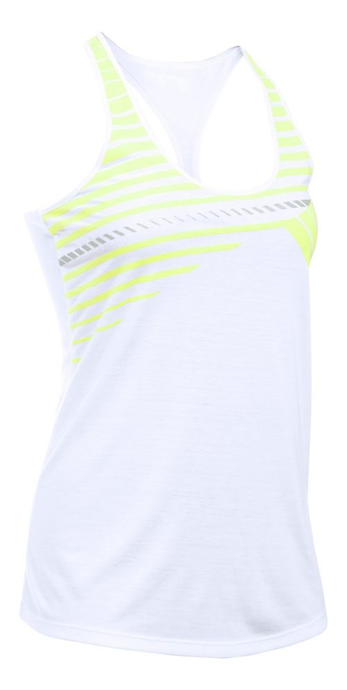Womens Under Armour Run Graphic Sleeveless & Tank Technical Tops - White/X-Ray M