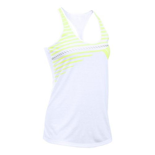 Womens Under Armour Run Graphic Sleeveless & Tank Technical Tops - White/X-Ray L