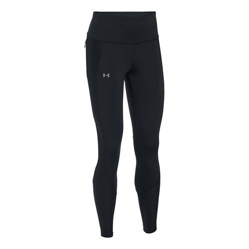 Womens Under Armour Run True Tights & Leggings Pants - Black/Black XSR