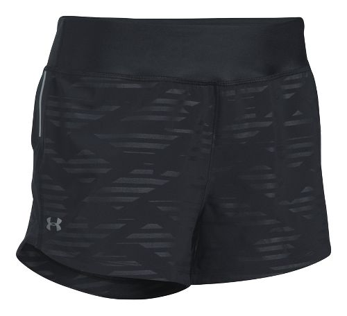 Womens Under Armour Run True Printed Lined Shorts - Black S