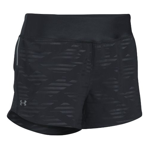 Womens Under Armour Run True Printed Lined Shorts - Black M
