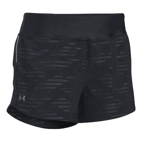 Womens Under Armour Run True Printed Lined Shorts - Black XXL
