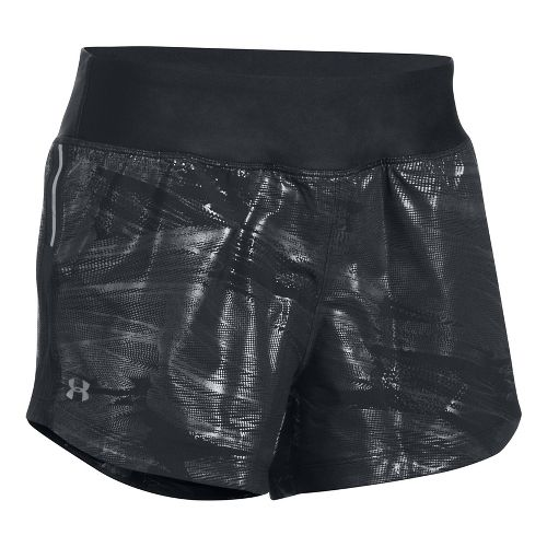 Womens Under Armour Run True Printed Lined Shorts - Black/Black L