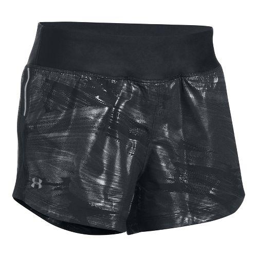 Womens Under Armour Run True Printed Lined Shorts - Black/Black XS
