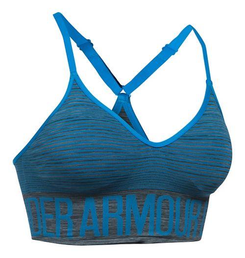 Womens Under Armour Seamless Feeder Stripe Sports Bras - Carbon Heather/Water M