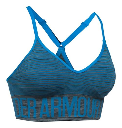 Womens Under Armour Seamless Feeder Stripe Sports Bras - Carbon Heather/Water XL