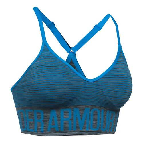 Womens Under Armour Seamless Feeder Stripe Sports Bras - Carbon Heather/Water M