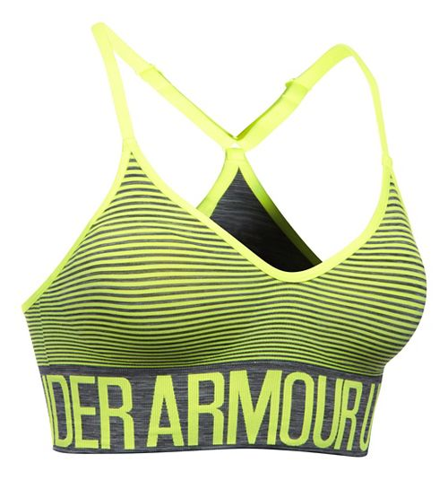 Womens Under Armour Seamless Feeder Stripe Sports Bras - Carbon Heather/X-Ray XS