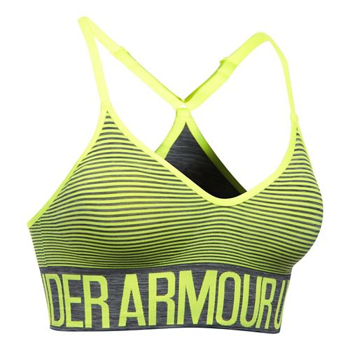 Womens Under Armour Seamless Feeder Stripe Sports Bras - Carbon Heather/X-Ray M