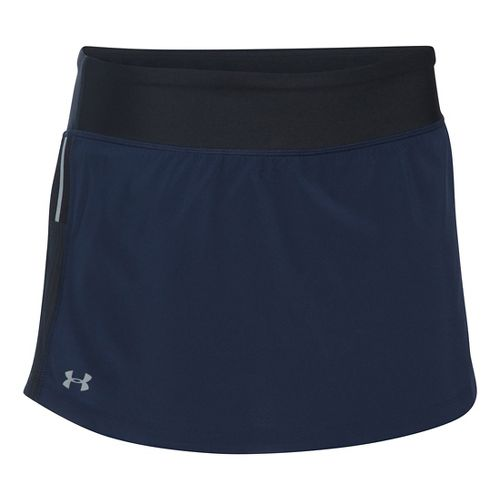 Womens Under Armour Stretch Woven Skorts Fitness Skirts - Midnight Navy/Black S