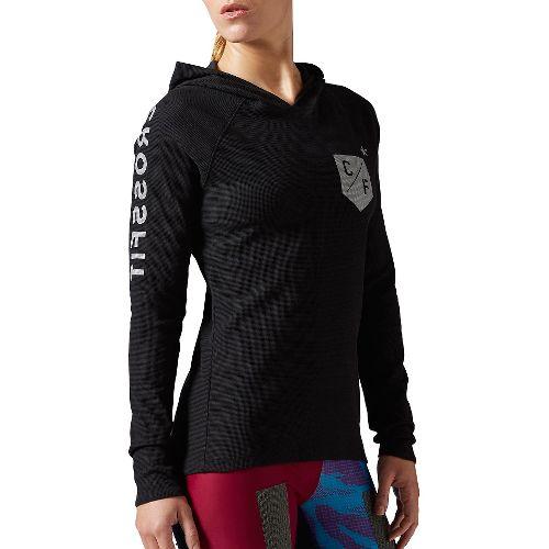 Womens Reebok Crossfit Icons Montage Pullover Half-Zips & Hoodies Technical Tops - Black L