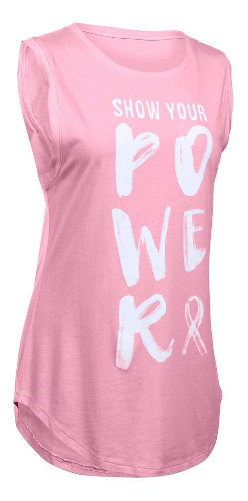 Womens Under Armour Show Your Power PIP CM Tunic Short Sleeve Technical Tops - Pink XL