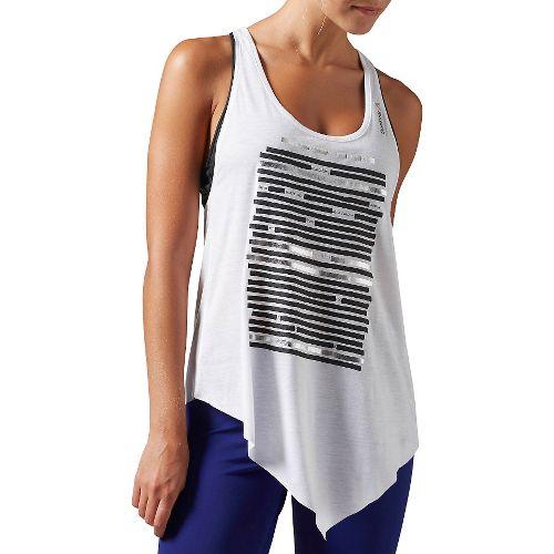 Womens Reebok DANCE Asymmetric Sleeveless & Tank Technical Tops - White L