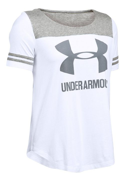 Womens Under Armour SportStyle Baseball T Short Sleeve Technical Tops - White/Grey Heather XL