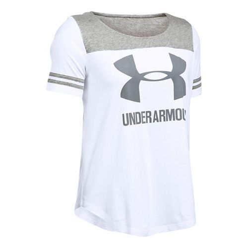 Womens Under Armour SportStyle Baseball T Short Sleeve Technical Tops - White/Grey Heather L