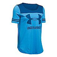 Womens Under Armour SportStyle Baseball T Short Sleeve Technical Tops - Water/Heron XS