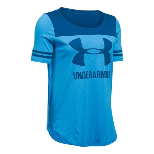 Womens Under Armour SportStyle Baseball T Short Sleeve Technical Tops - Water/Heron L