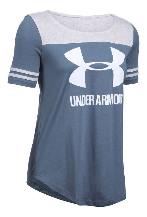 Womens Under Armour SportStyle Baseball T Short Sleeve Technical Tops - Aurora Purple/Silver XL