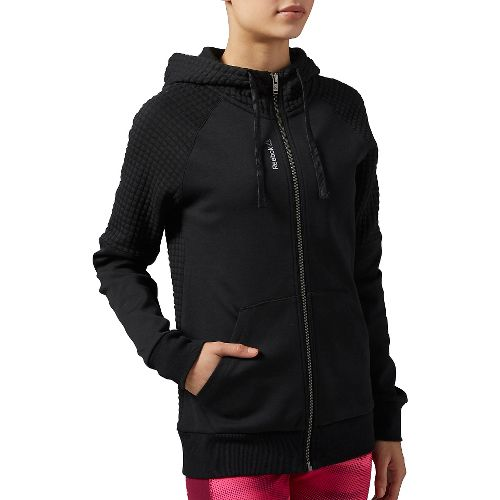 Womens Reebok Elements Quilted FullZip Half-Zips & Hoodies Technical Tops - Black L